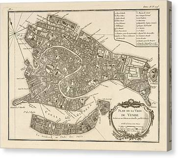 Antique Map Of Venice Italy By Jacques Nicolas Bellin - 1764 Canvas Print by Blue Monocle