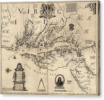 Augustine Canvas Print - Antique Map Of Virginia And Maryland By Augustine Herrman - 1673 by Blue Monocle