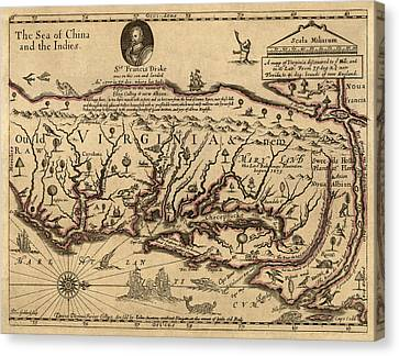 Vintage Map Canvas Print - Antique Map Of Virginia And Maryland By John Farrer - Circa 1667 by Blue Monocle