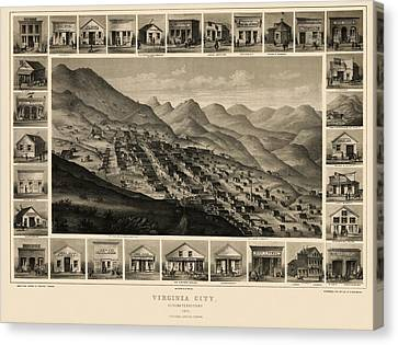 Virginia Canvas Print - Antique Map Of Virginia City Nevada By Charles Conrad Kuchel - 1861 by Blue Monocle