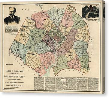 Antique Map Of Washington Dc By Andrew B. Graham - 1891 Canvas Print