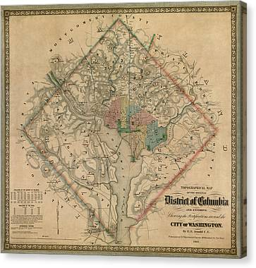 Antique Map Of Washington Dc By Colton And Co - 1862 Canvas Print