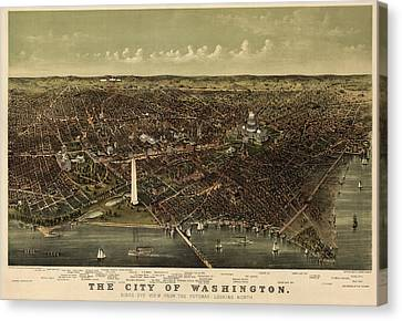 Antique Map Of Washington Dc By Currier And Ives - Circa 1892 Canvas Print by Blue Monocle