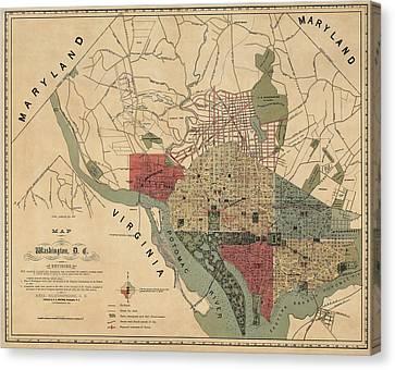 Vintage Map Canvas Print - Antique Map Of Washington Dc By R. E. Whitman - 1887 by Blue Monocle
