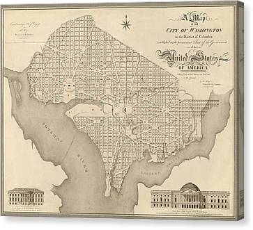 Old Canvas Print - Antique Map Of Washington Dc By Robert King - 1818 by Blue Monocle