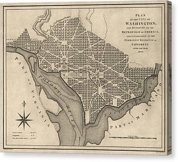Antique Map Of Washington Dc By William Bent - 1793 Canvas Print by Blue Monocle