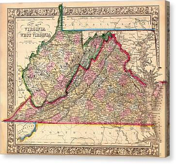 Antique Map Of West Virginia And Virginia 1864 Canvas Print by Mountain Dreams