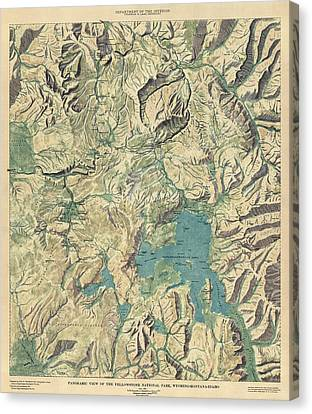 Canvas Print featuring the drawing Antique Map Of Yellowstone National Park By The Usgs - 1915 by Blue Monocle