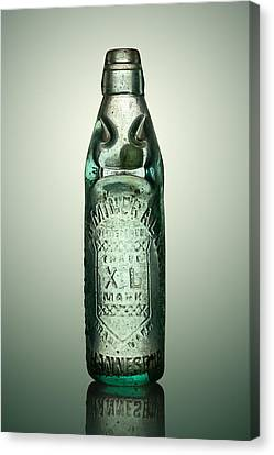 Container Canvas Print - Antique Mineral Glass Bottle by Johan Swanepoel