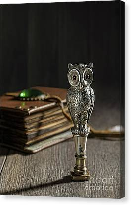 Antique Owl Seal Canvas Print by Amanda Elwell