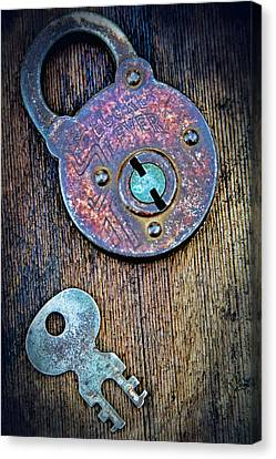Turquoise And Rust Canvas Print - Antique Padlock by Tony Grider
