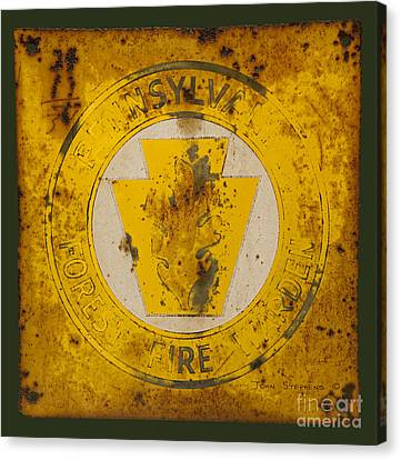 Antique Metal Pennsylvania Forest Fire Warden Sign Canvas Print by John Stephens