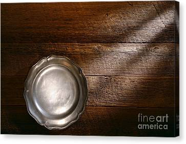 Antique Pewter Plate Canvas Print by Olivier Le Queinec