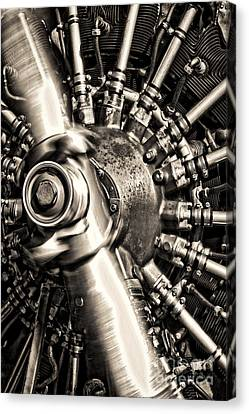 Canvas Print featuring the photograph Antique Plane Engine by Olivier Le Queinec
