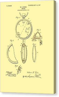 Antique Pocket Watch Patent 1907 Canvas Print by Mountain Dreams