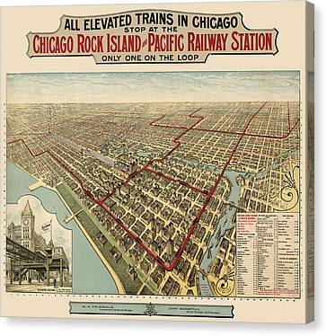 Vintage Trains Canvas Print - Antique Railroad Map Of Chicago - 1897 by Blue Monocle