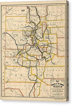 Antique Railroad Map Of Colorado And New Mexico By S. W. Eccles - 1881 Canvas Print by Blue Monocle