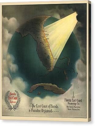 Antique Railroad Map Of Florida By J. P. Beckwith - 1898 Canvas Print by Blue Monocle
