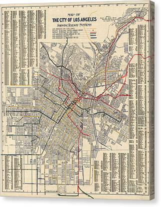 Antique Railroad Map Of Los Angeles - 1906 Canvas Print by Blue Monocle