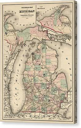 Antique Railroad Map Of Michigan By Colton And Co. - 1876 Canvas Print by Blue Monocle
