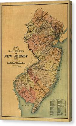 Antique Railroad Map Of New Jersey By Van Cleef And Betts - 1887 Canvas Print by Blue Monocle