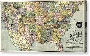 Antique Railroad Map Of The United States - 1890 Canvas Print by Blue Monocle