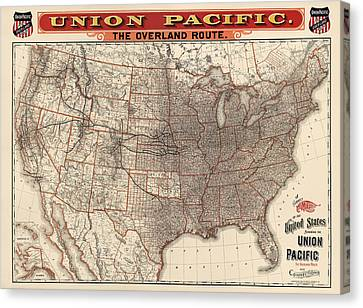 Antique Railroad Map Of The United States - Union Pacific - 1892 Canvas Print