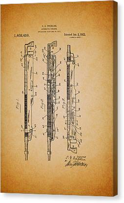 Remington Canvas Print - Antique Remington Automatic Firearm Patent 1922 by Mountain Dreams