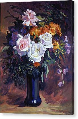 Antique Roses Canvas Print by David Lloyd Glover