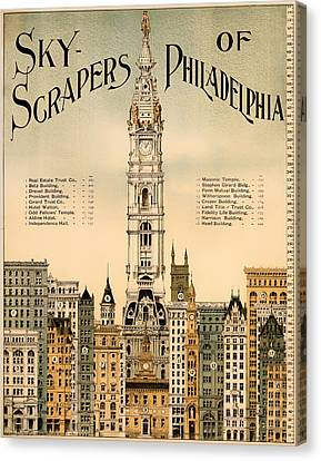 Antique Skyscrapers Of Philadelphia Poster 1898 Canvas Print by Mountain Dreams