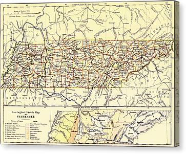 Antique State Of Tennessee Map 1888 Canvas Print