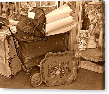 Antique Still Life With Baby Carriage And Other Objects In Sepia Canvas Print by Valerie Garner