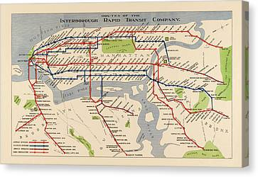 Antique Subway Map Of New York City - 1924 Canvas Print