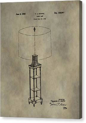 Antique Table Lamp Patent Canvas Print by Dan Sproul