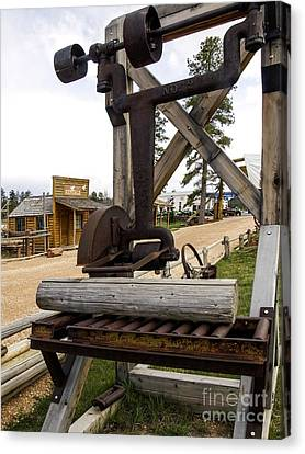Canvas Print featuring the photograph Antique Table Saw Tool Wood Cutting Machine by Paul Fearn