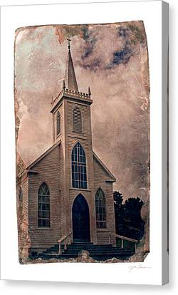 Antique Tintype Style Church In Bodega California Canvas Print by Julie Magers Soulen