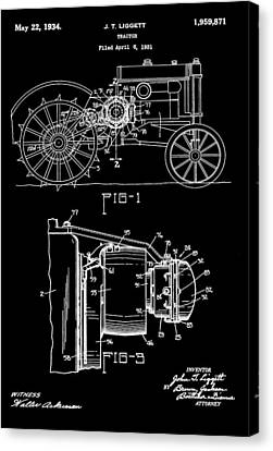 Antique Tractor Patent Canvas Print by Dan Sproul