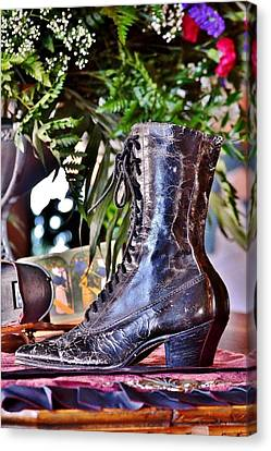 Beaches Canvas Print - Antique Victorian Boots At The Boardwalk Plaza Hotel - Rehoboth Beach Delaware by Kim Bemis