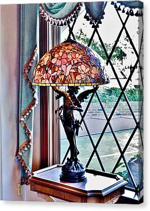Stained Glass Canvas Print - Antique Victorian Lamp At The Boardwalk Plaza - Rehoboth Beach Delaware by Kim Bemis