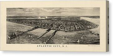 Antique View Of Atlantic City New Jersey - 1905 Canvas Print