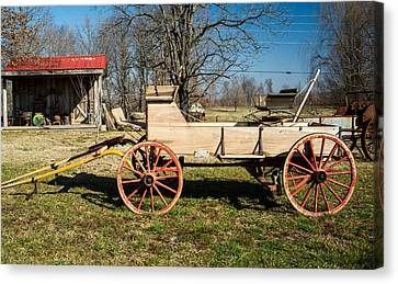 Antique Wagon And Mountain Cabin 1 Canvas Print by Douglas Barnett