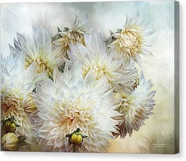 Antique White Dahlias Canvas Print