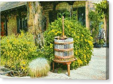 Tasting Canvas Print - Antique Wine Press 4 by Floyd Snyder