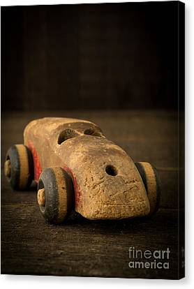 Toy Car Canvas Print - Antique Wooden Toy Car by Edward Fielding