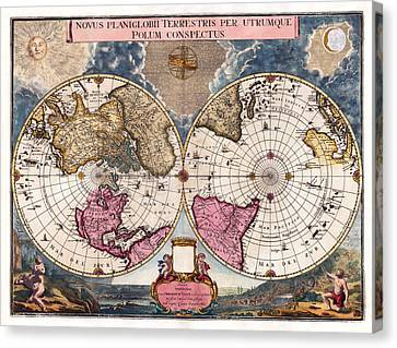 Canvas Print featuring the photograph Antique World Map 1695 Novus Planiglobii Terrestris Per Utrumque Polum Conspectus by Karon Melillo DeVega