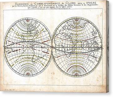 Antique World Map Harmonie Ou Correspondance Du Globe 1659 Canvas Print by Karon Melillo DeVega