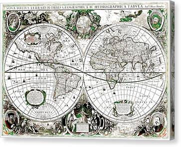 Antique World Map Poster Canvas Print by Dan Sproul