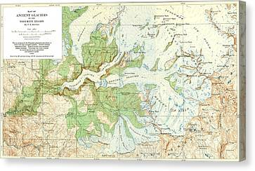 Antique Yosemite National Park Map Canvas Print by Dan Sproul