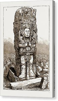 Antiquities Canvas Print - Antiquities Of Central America Stone Column Found At Copan by Litz Collection
