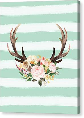 Antlers On Stripes Turquoise Canvas Print by Tara Moss